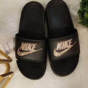 New Nike black and rose gold bling Slides